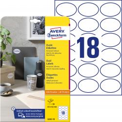 Trwałe etykiety białe A4 Avery Zweckform owalne - 63,5x42,3 mm / 10 ark