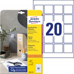 Trwałe etykiety białe A4 Avery Zweckform kwadratowe - 45x45 mm / 10 ark