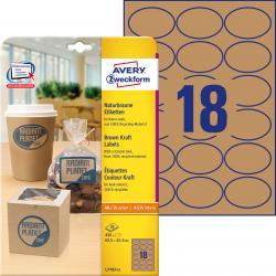 Trwałe etykiety brązowe A4 Avery Zweckform owalne - 63,5x42,3 mm / 25 ark