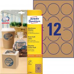 Trwałe etykiety brązowe A4 Avery Zweckform okrągłe - Ø60 mm / 25 ark
