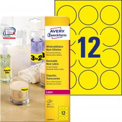Usuwalne etykiety żółte neonowe A4 Avery Zweckform okrągłe - Ø63,5 mm / 25 ark