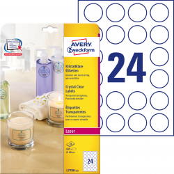 Przezroczyste etykiety Crystal Clear A4 Avery Zweckform okrągłe - Ø40 mm / 25 ark