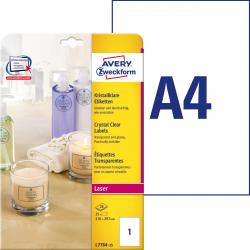 Przezroczyste etykiety Crystal Clear A4 Avery Zweckform  - 210 x 297 / 25 ark
