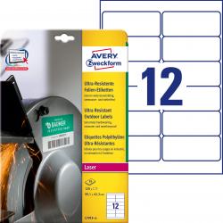 Polietylenowe etykiety ultra resistant białe A4 Avery Zweckform - 99,1 x 42,3 mm / 10 ark