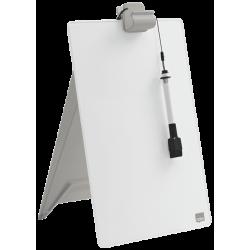 Szklana tabliczka suchościeralna Nobo na biurko pionowa - biała