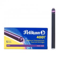 Naboje do piór wiecznych Pelikan 4001 długie - fioletowe - 5 szt.