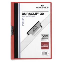 Skoroszyt zaciskowy o pojemności do 30 kartek Duraclip - czerwony