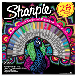 Markery permanentne Sharpie Peacock - zestaw 28 kolorów