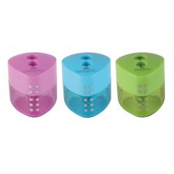 Temperówka plastikowa GRIP - dwa otwory - mix kolorów
