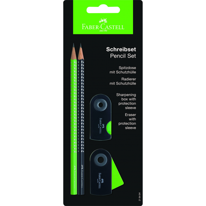 Ołówki grafitowe SPARKLE - zielony i czarny + gumka + temperówka