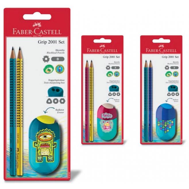 Temperówka plastikowa z gumką + ołówki - Cupcakes / Squares / Monster