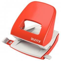 Dziurkacz duży metalowy Leitz WOW - jasnoczerwony