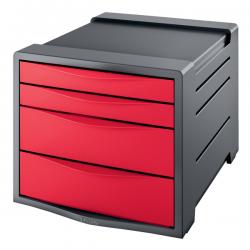 Pojemnik z 4 szufladami Esselte Europost Vivida - czerwony