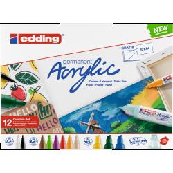 Markery akrylowe Edding Basic - zestaw 12 kolorów
