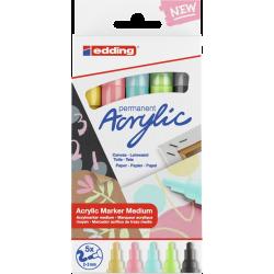 Markery akrylowe Edding 5100 pastelowe - 5 kolorów