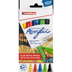 Markery akrylowe Edding 5100 Basic - 5 kolorów