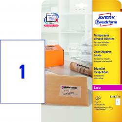 Wysyłkowe etykiety przezroczyste A4 Avery Zweckform - 210x297 / 25 ark