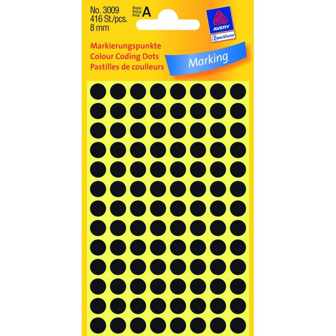 Kółka do zaznaczania Ø 8 mm - czarne