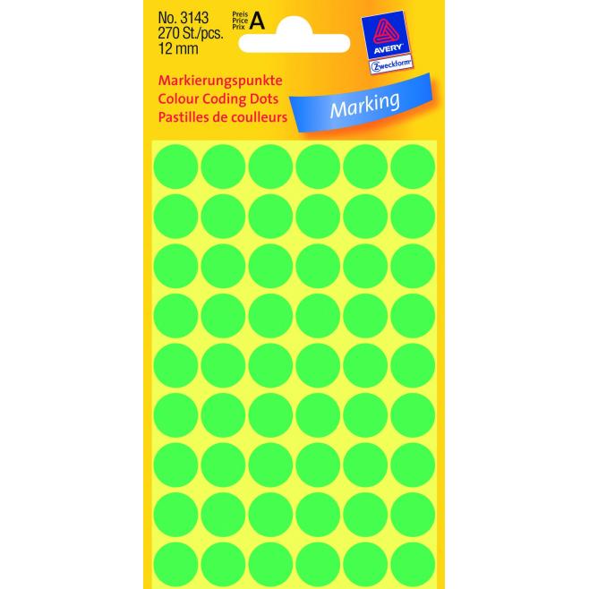 Kółka do zaznaczania Ø 12 mm - zielone