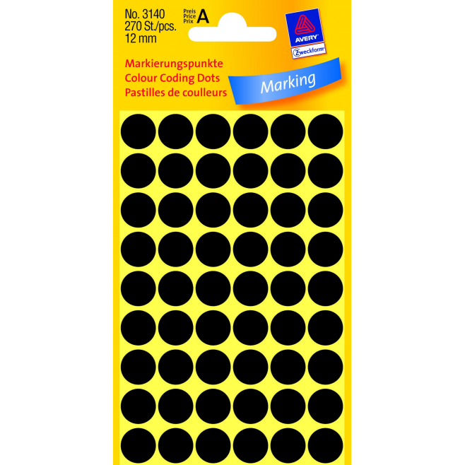Kółka do zaznaczania Ø 12 mm - czarne