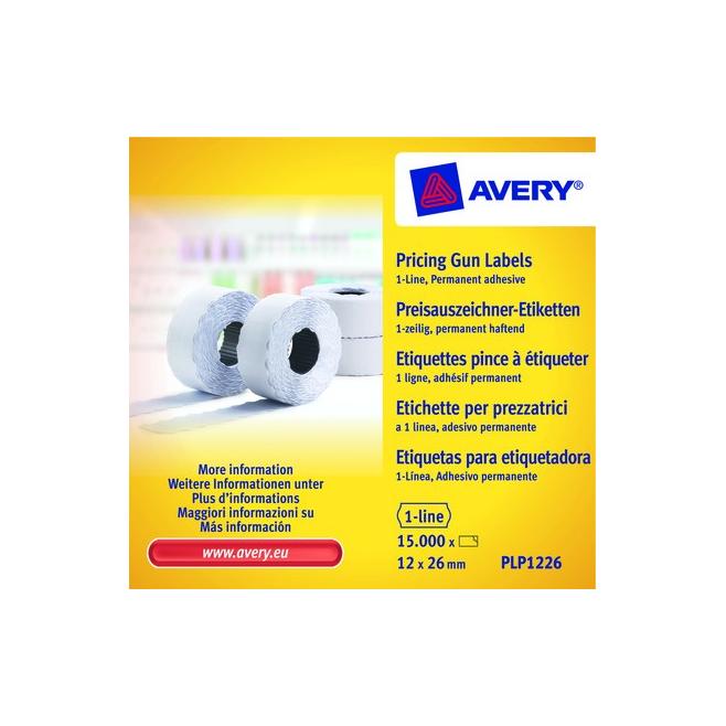 Trwałe etykiety cenowe do metkownicy - jednorzędowe - 12x26 Avery Zweckform /10 rol