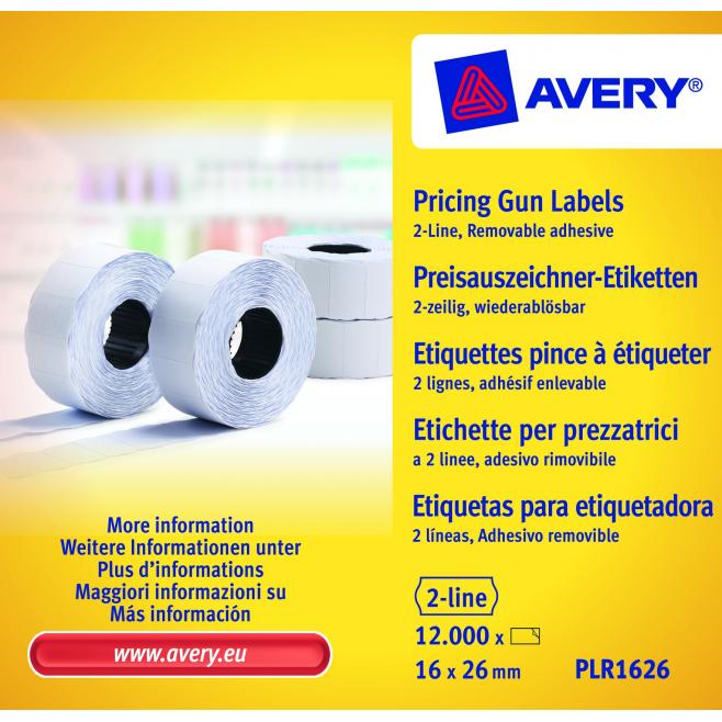 Usuwalne etykiety cenowe Avery Zweckform do metkownicy - dwurzędowe - 16x26 /10 rol