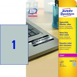 Etykiety znamionowe srebrne A4 - 210x297 Avery Zweckform /20 ark