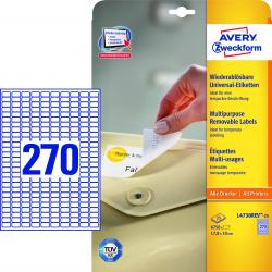 Usuwalne etykiety uniwersalne A4 - 17,8x10 Avery Zweckform /25 ark