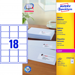 Adresowe etykiety białe A4 - 63,5x46,6 / 25 ark