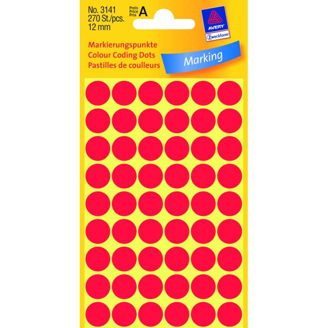 Kółka do zaznaczania Ø 12 mm - czerwone
