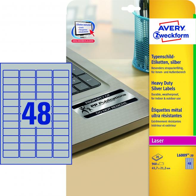 Etykiety znamionowe srebrne A4 - 45,7x21,2 /20 ark