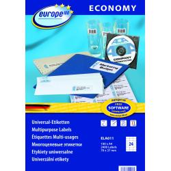 Uniwersalne etykiety Economy A4 - 70x37mm /100 ark