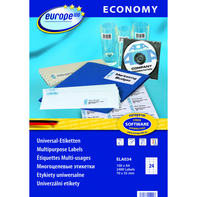 Etykiety uniwersalne Economy A4 - 70x35mm /100 ark