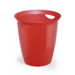 Kosz na śmieci TREND - czerwony / transparentny