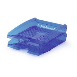 Półka na dokumenty A4 TREND - niebieska / transparentna