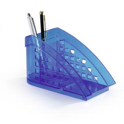 Przybornik na biurko TREND - niebieski / transparentny