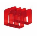 Stojak na katalogi z przegródkami - TREND - czerwony / transparentny