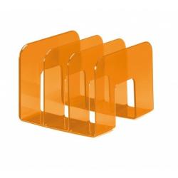 Stojak na katalogi z przegródkami - TREND - pomarańczowy / transparentny