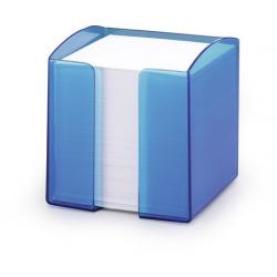 Pojemnik z karteczkami Trend - niebieski / transparentny