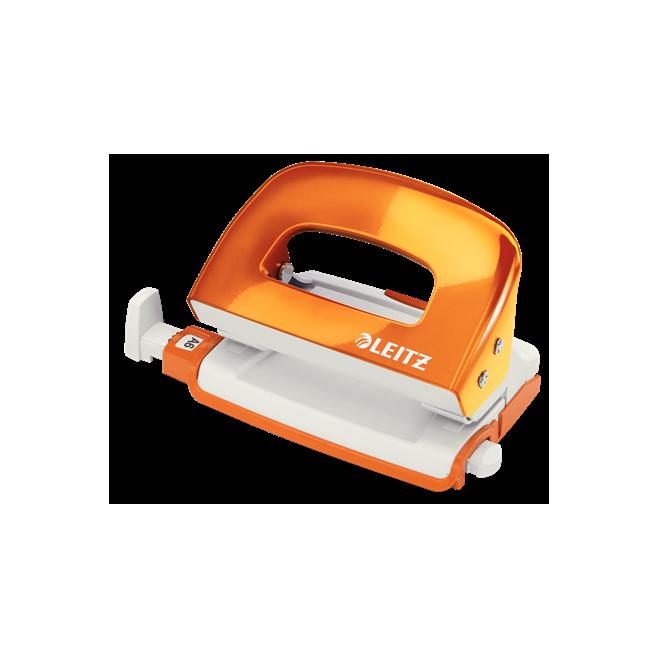 Dziurkacz mini metalowy Leitz WOW - pomarańczowy metaliczny