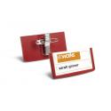 Identyfikator z kombi-klipem - czerwony - 30x60 mm /25 szt