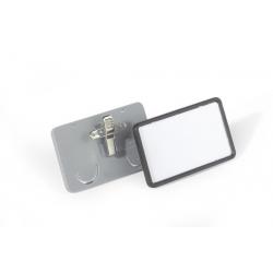 Identyfikator z kombi-klipem - szary - 40x75 mm /25 szt