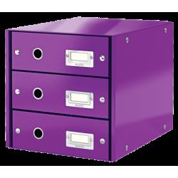 Pojemnik z 3 szufladami Leitz WOW Click & Store - fioletowy