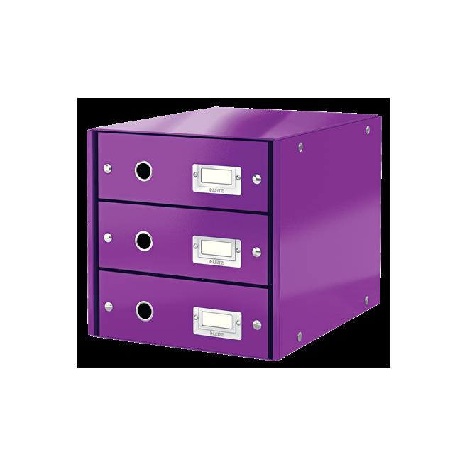 Pojemnik z 3 szufladami Leitz C&S WOW, fioletowy