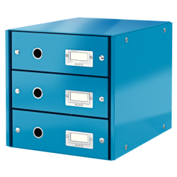 Pojemnik z 3 szufladami Leitz WOW Click & Store - niebieski