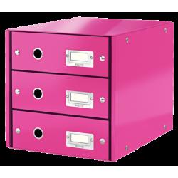 Pojemnik z 3 szufladami Leitz Click & Store WOW - różowy