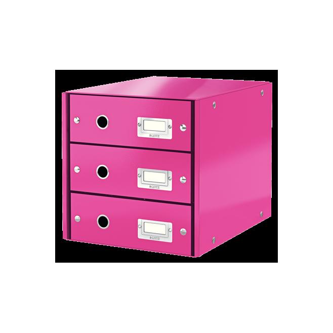 Pojemnik z 3 szufladami Leitz C&S WOW, różowy