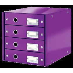 Pojemnik z 4 szufladami Leitz WOW Click & Store - fioletowy