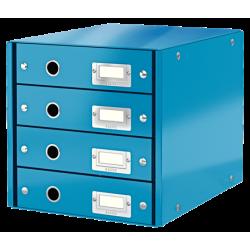 Pojemnik z 4 szufladami Leitz WOW Click & Store - niebieski