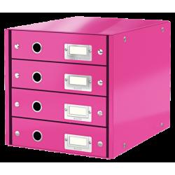 Pojemnik z 4 szufladami Leitz WOW Click & Store - różowy